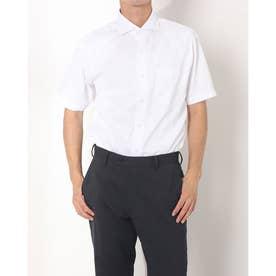 形態安定ノーアイロン ホリゾンタルワイド 半袖ビジネスワイシャツ (ホワイト)