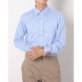 ビズポロ 形態安定ノーアイロン ワイド 長袖ビジネスニットワイシャツ (ブルー)