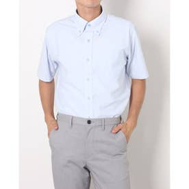 ビズポロ 形態安定ノーアイロン ボタンダウン 半袖ビジネスニットワイシャツ (ライトブルー)