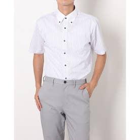 形態安定ノーアイロン クレリックボタンダウン 半袖ビジネスワイシャツ (ライトパープル)