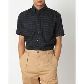 形態安定ノーアイロン ボタンダウンカラー 半袖ビジネスワイシャツ (ダークグリーン)