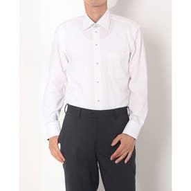 形態安定ノーアイロン ワイド 長袖ビジネスワイシャツ (ライトピンク)
