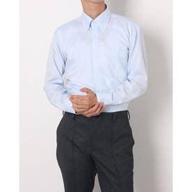 形態安定ノーアイロン ボタンダウン 長袖ビジネスワイシャツ (ライトブルー)