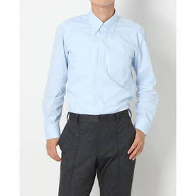 形態安定ノーアイロン ボタンダウン 長袖ビジネスワイシャツ (サックスブルー)