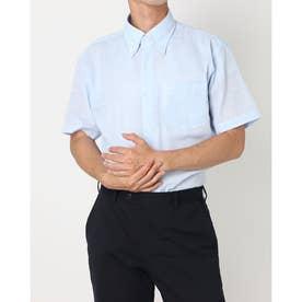 形態安定ノーアイロン Wガーゼ ボタンダウン 半袖ビジネスワイシャツ (ライトブルー)