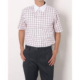 形態安定ノーアイロン クレリックボタンダウン 半袖ビジネスシャツ (レッド)