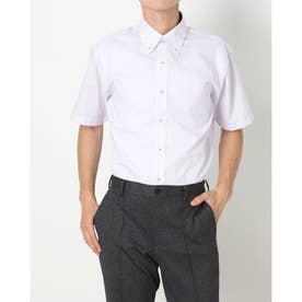 形態安定ノーアイロン ボタンダウン 半袖ビジネスワイシャツ (ライトパープル)