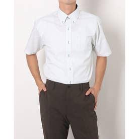 形態安定ノーアイロン ドゥエボットーニボタンダウン 半袖ビジネスワイシャツ (ライトグリーン)