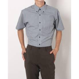 形態安定ノーアイロン ボタンダウン 半袖ビジネスワイシャツ (グレー)