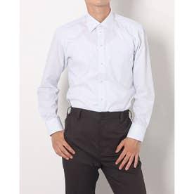 形態安定ノーアイロン ワイド 長袖ビジネスワイシャツ (サックスブルー)