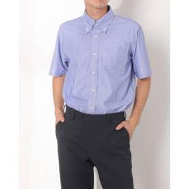 ビズポロ 形態安定ノーアイロン ボタンダウン 半袖ビジネスニットワイシャツ (ネイビー)