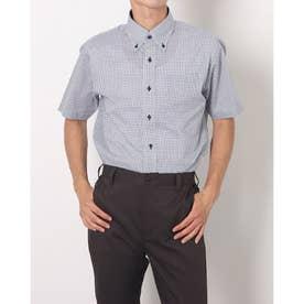 形態安定ノーアイロン COOLMAX(R) ボタンダウン 半袖ビジネスワイシャツ (ネイビー)