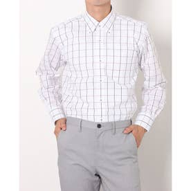 形態安定ノーアイロン ボタンダウン 長袖ビジネスワイシャツ (ホワイト)