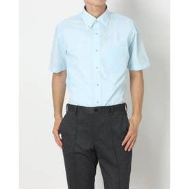 形態安定ノーアイロン ボタンダウン 半袖ビジネスワイシャツ (エメラルドブルー)