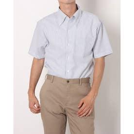 形態安定ノーアイロン ワンピースボタンダウン 半袖ビジネスワイシャツ (ネイビー)