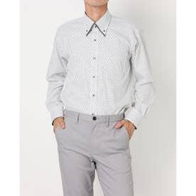形態安定ノーアイロン  ボタンダウンダブルカラー 長袖ビジネスワイシャツ (グレー)