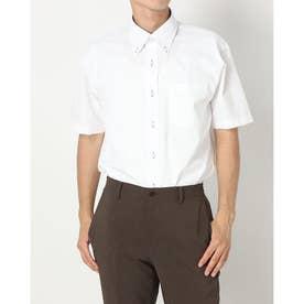 形態安定ノーアイロン ボタンダウン 半袖ビジネスワイシャツ (ホワイト)