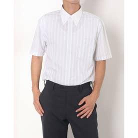 形態安定ノーアイロン クレリックボタンダウン 半袖ビジネスワイシャツ (ライトグレー)
