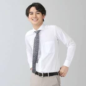 ビズポロ 形態安定ノーアイロン ホリゾンタルワイド 長袖ビジネスニットワイシャツ (ホワイト)