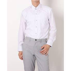形態安定ノーアイロン マイタードゥエボットーニボタンダウン 長袖ビジネスワイシャツ (ライトパープル)