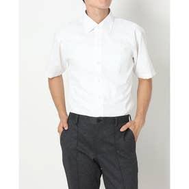 形態安定ノーアイロン ワイド 半袖ビジネスワイシャツ (ホワイト)