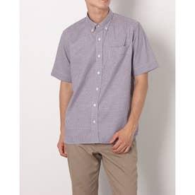 形態安定ノーアイロン ラウンドテールシャツ ボタンダウン 半袖ビジネスワイシャツ (レッド)