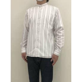 形態安定ノーアイロン ラウンドテールシャツ スタンド 長袖ビジネスワイシャツ (ライトベージュ)