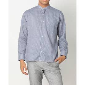 形態安定ノーアイロン Wガーゼ ラウンドテールシャツ スタンド 長袖ビジネスワイシャツ (ネイビー)