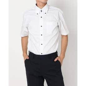 形態安定ノーアイロン ドゥエボットーニ ボタンダウン 半袖ビジネスワイシャツ (ライトグレー)