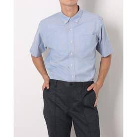 形態安定ノーアイロン ラウンドテールシャツ ボタンダウン 半袖ビジネスワイシャツ (ブルー)