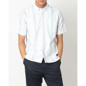 形態安定ノーアイロン ラウンドテールシャツ ボタンダウン 半袖ビジネスワイシャツ (ライトブルー)