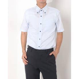 形態安定ノーアイロン マイター ボタンダウン 半袖ビジネスワイシャツ (ライトブルー)
