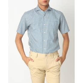 形態安定ノーアイロン ホリゾンタル ワイド 半袖ビジネスワイシャツ (ターコイズブルー)
