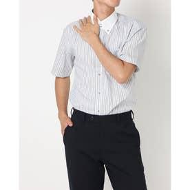 形態安定ノーアイロン クレリック ドゥエボットーニ ボタンダウン半袖ビジネスワイシャツ (ブルー)