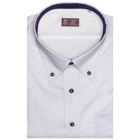 形態安定ノーアイロン レイヤードクール ボタンダウン  半袖ビジネスワイシャツ (ライトパープル)