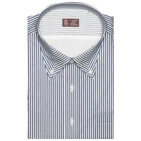 形態安定ノーアイロン レイヤードクール マイターボタンダウン 半袖ビジネスワイシャツ (ネイビー)