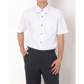 形態安定ノーアイロン ボタンダウン 透け防止 半袖ビジネスワイシャツ (ホワイト)