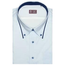形態安定ノーアイロン レイヤードクール ボタンダウン  半袖ビジネスワイシャツ (ライトブルー)