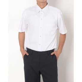 形態安定ノーアイロン ワイド 透け防止 半袖ビジネスワイシャツ (ホワイト)