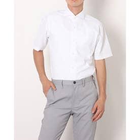 形態安定ノーアイロン ホリゾンタル 透け防止 半袖ビジネスワイシャツ (ホワイト)