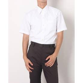 形態安定ノーアイロン レギュラー 透け防止 半袖ビジネスワイシャツ (ホワイト)