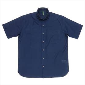 形態安定ノーアイロン からみ織 ラウンドテール ホリゾンタルワイド衿 半袖ビジネスシャツ (ネイビー)