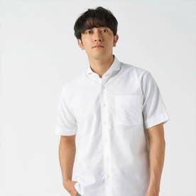 形態安定ノーアイロン からみ織 ラウンドテール ホリゾンタルワイド衿 半袖ビジネスシャツ (ホワイト)