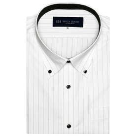 形態安定ノーアイロン ボタンダウン  半袖ビジネスワイシャツ (ライトグレー)