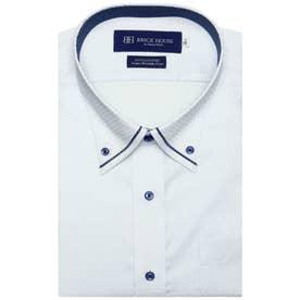 形態安定ノーアイロン  マイター ボタンダウン 半袖ビジネスワイシャツ  3L・4L (ライトブルー)