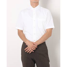 形態安定ノーアイロン  ビズポロ  ホリゾンタルワイド 半袖ニットシャツ (ホワイト)