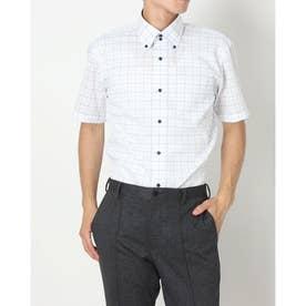形態安定ノーアイロン  ドゥエボットーニ ボタンダウン 半袖ビジネスワイシャツ (ライトブルー)