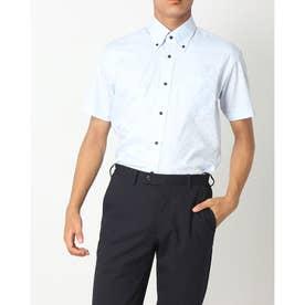 形態安定ノーアイロン ボタンダウン衿 半袖ビジネスワイシャツ (ライトブルー)