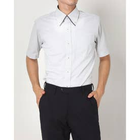 形態安定ノーアイロン 半袖 ビズポロ ニットシャツ マイターボタンダウン (ライトグレー)