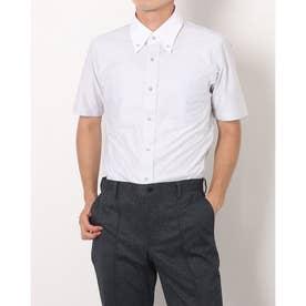 形態安定ノーアイロン 半袖 ビズポロ ニットシャツ クレリックボタンダウン (ライトグレー)